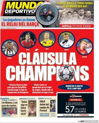 Portada Mundo Deportivo: cláusula Champions
