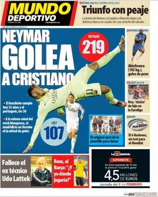 Portada Mundo Deportivo: Neymar golea a Cristiano