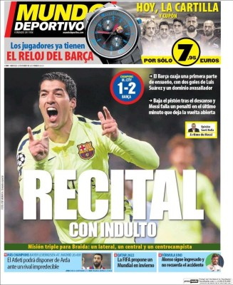 Portada Mundo Deportivo: recital del Barça ante el City doblete suarez, messi falla penal