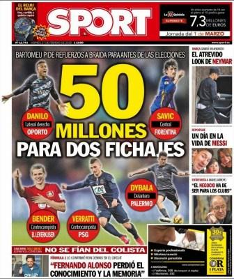 Portada Sport: 50 millones para dos fichajes