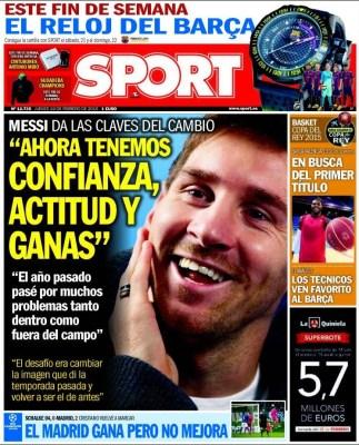 Portada Sport: Ahora tenemos confianza messi