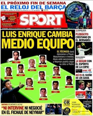 Portada Sport: Luis Enrique cambia medio equipo