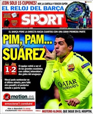Portada Sport: pim pam, Suárez city barça