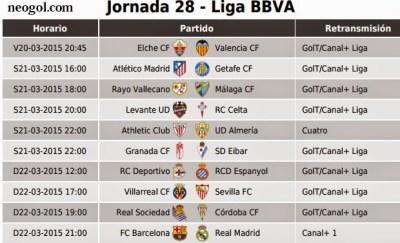 Partidos Jornada 28. Liga Española BBVA 2015 el clasico madrid barça