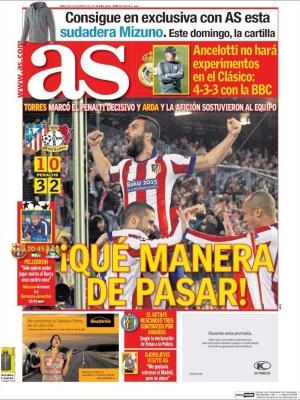 Portada AS: que manera de pasar! atletico leverkusen champions