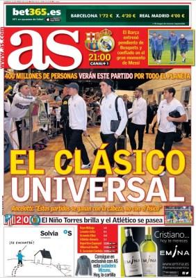 Portada AS: el clásico universal barça madrid