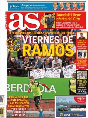 Portada AS: viernes de Ramos eurocopa