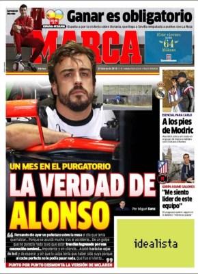 Portada Marca: la verdad de Alonso formula 1 mclaren