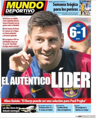 Portada Mundo Deportivo: El auténtico líder fc barcelona messi hat trick record