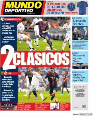 Portada Mundo Deportivo: 2 clásicos