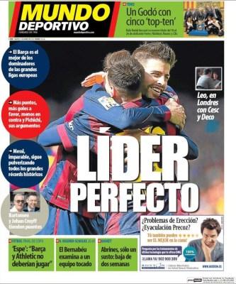 Portada Mundo Deportivo: Líder perfecto