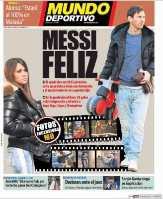 Portada Mundo Deporitvo: Messi feliz padre segundo hijo casamiento antonella