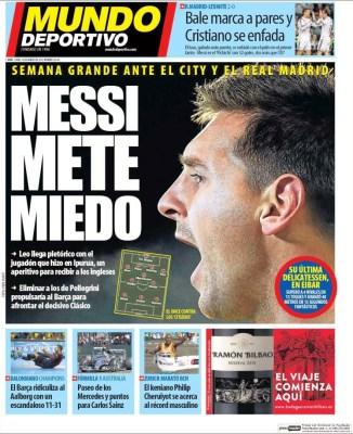 Portada Mundo Deportivo: Messi mete miedo
