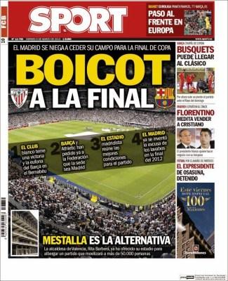 Portada Sport: Boicot a la final