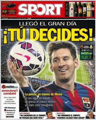 Portada Sport: Tu decides Leo messi