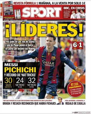 Portada Sport: el Barça vuelve a ser líder