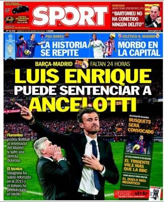 Portada Sport: Luis Enrique puede sentenciar a Ancelotti