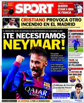 Portada Sport: te necesitamos Neymar barcelona city manchester