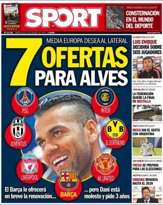 Portada Sport: 7 ofertas para Alves