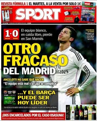Portada Sport: Otro fracaso del Madrid