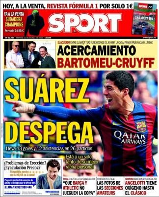 Portada Sport: Suárez despega barcelona