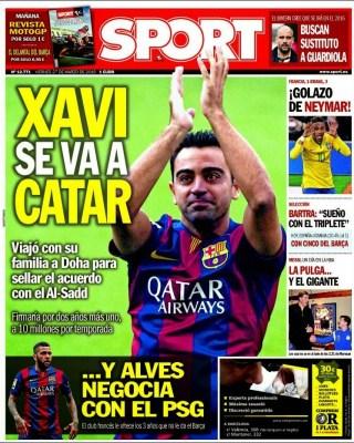 Portada Sport: Xavi ficha con el Al-Sadd de Qatar