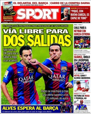 Portada Sport: Xavi y Pedro
