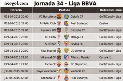 Partidos Jornada 34. Liga Española BBVA 2015