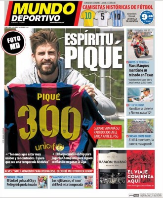 Portada Mundo Deportivo: Piqué 300 partidos