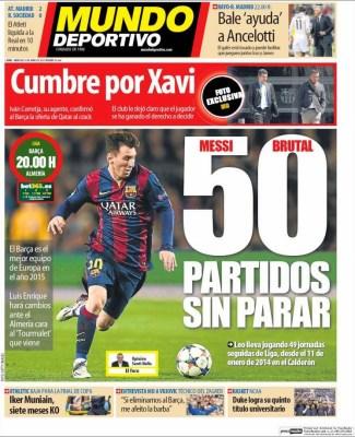 Portada Mundo Deportivo: Messi, 50 partidos sin parar