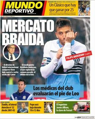 Portada Mundo Deportivo: Mercato Braida