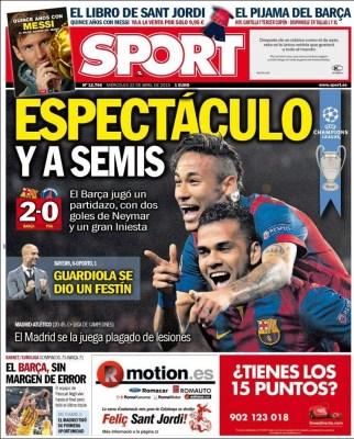Portada Sport: Espectáculo y a semis barcelona paris saint germain