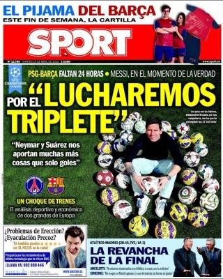 Portada Sport: Messi quiere el triplete