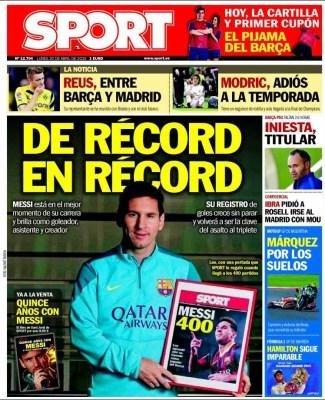 Portada Sport: Leo Messi, el hombre récord
