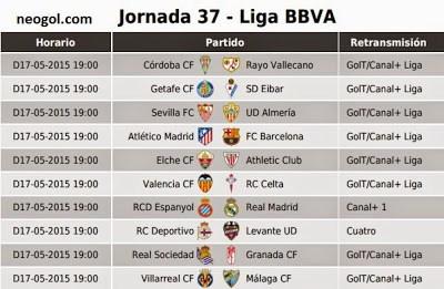 Partidos Jornada 37. Liga Española BBVA 2015