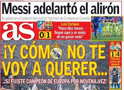Portada AS: Messi adelantó el Alirón