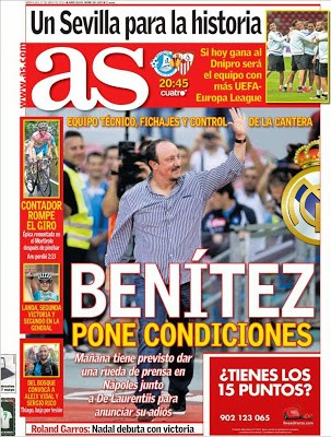 Portada AS: Benítez pone condiciones