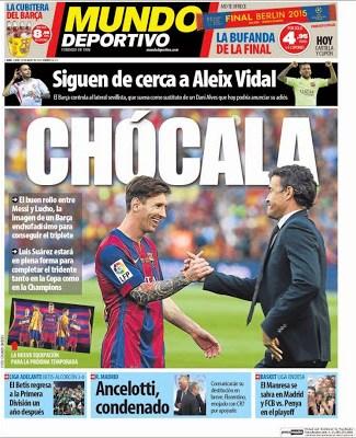 Portada Mundo Deportivo: buen rollo Messi-lucho