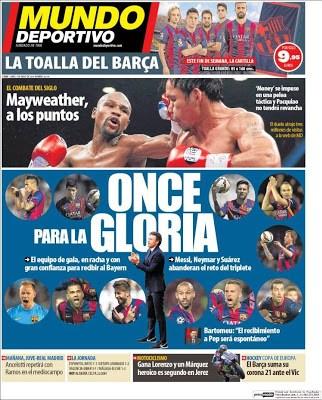 Portada Mundo Deportivo: once para la gloria