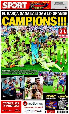Portada Sport: Barcelona Campeón 2014/2015 liga española