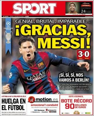 Portada Sport: Gracias Messi