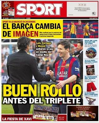 Portada Sport: Buen rollo antes del triplete