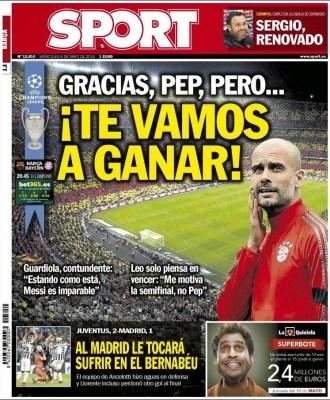 Portada Sport: Pep, te vamos a ganar