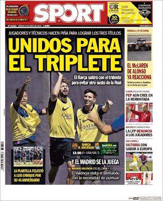 Portada Sport: unidos para el triplete
