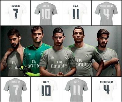 La nueva camiseta del Real Madrid: Temporada 2015-2016 dorsales