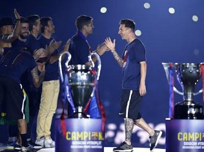 messi festejos camp nou 2015 champions