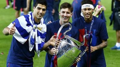 messi suarez y neymar con la champions league 2015