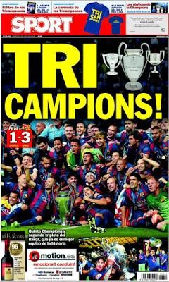 Portada Sport: TriCampions barcelona vence a la juventus final champions