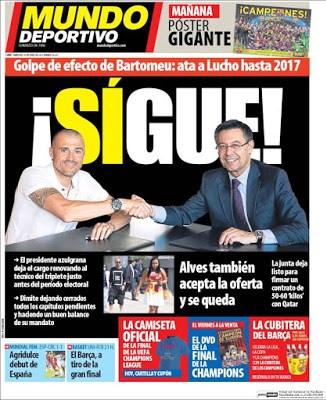 Portada Mundo Deportivo: Luis Enrique renueva hasta 2017