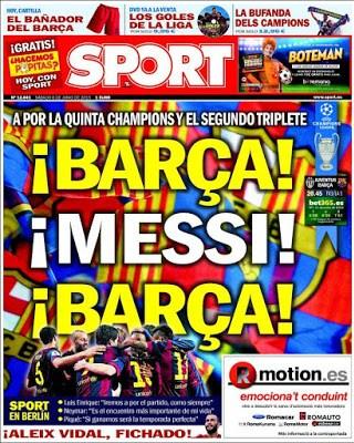 Portada Sport: Barça, Messi, Barça final champions